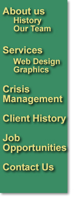 About Us, History, Our Team, Services, Client History, Crisis Mangement, Job Opportunity, Contact Us